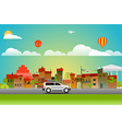 Cityscape with different vehicle vector image vector image