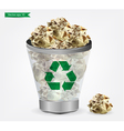 Trashcan paper recycle vector image