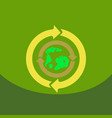 earth with arrows in logo organic life symbol vector image
