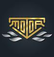 metallic automotive motorcycle badge with fire vector image