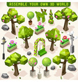 Park Set Lowpoly 3d Isometric vector image vector image