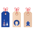 christmas retro tags vector image vector image