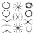 Laurel wreath tattoo set Black ornaments twelve vector image