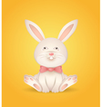 Sitting rabbit with a red bow vector image