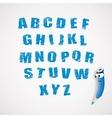 alphabet and cartoon crayon vector image