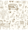 Hand drawn doodle Thailand travel seamless pattern vector image