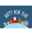 Happy new year Cute Santa Claus with gift and vector image