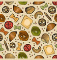 seamless pattern with different types of tasty vector image
