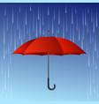 Red umbrella and rain drops vector image