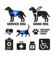 service dogs and emotional support animals emblems vector image vector image