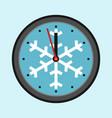 christmas clock with snowflake vector image