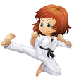 A brave young lady doing karate vector image