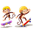 Two monkeys playing skateboard vector image