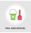 Pail and shovel flat icon vector image vector image