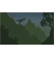Silhouette of tyrannosaurus in cliff vector image