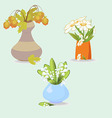 A vase with three flowers lilies daisies leaves vector image