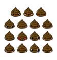 Kawaii poop emoticons set vector image