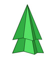 origami fir tree icon cartoon style vector image