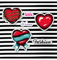 red hearts sketch set on pop art on black striped vector image