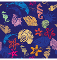 Seamless background with Marine life - pattern vector image