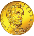 American money one dollar gold coin vector image