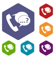 Phone sign and support speech bubbles icons set vector image