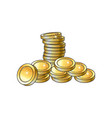 stack pile heap of shiny gold coins vector image