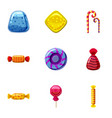 Colorful candy icons set cartoon style vector image