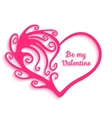 Heart with swirls on white background vector image