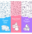 vertical banners with sketched dairy goods vector image