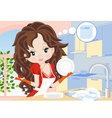 Woman wipes the dishes in the kitchen vector image