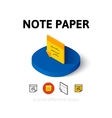 Note paper icon in different style vector image