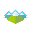 emblem with rocky landscape of alpine mountains vector image