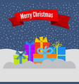 gift boxes on snow and stellar sky vector image