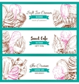 Ice cream desserts sketch banners set vector image