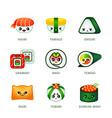 kawaii sushi bar icons vector image