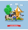 Little girl riding pony flat design vector image