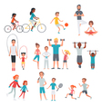 People Flat Fitness Set vector image