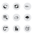 set of 9 editable air icons includes symbols such vector image