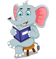 funny elephant cartoon sitting with reading book vector image vector image