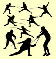 fencing sport silhouette vector image