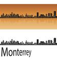 Monterrey skyline in orange vector image