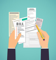 Paying bills Hands holding bills and pencil vector image
