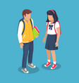 schoolchildren from secondary school with backpack vector image