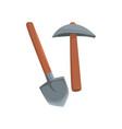 shovel and pickaxe tools mining industry vector image