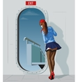 stewardess at the door vector image