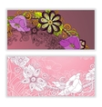 Unique pattern card set with art flowers vector image