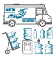 Set of images for water delivery vector image vector image