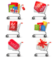 Collection of shopping carts full of shopping bags vector image vector image