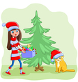 Girl with a cat decorates the Christmas tree vector image